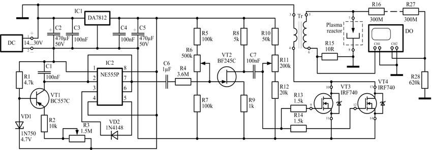 Circuit diagram of a high-voltage pulse generator