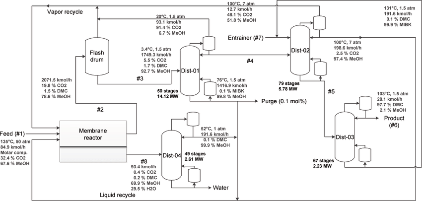 Process flowsheet for the direct synthesis of DMC using a