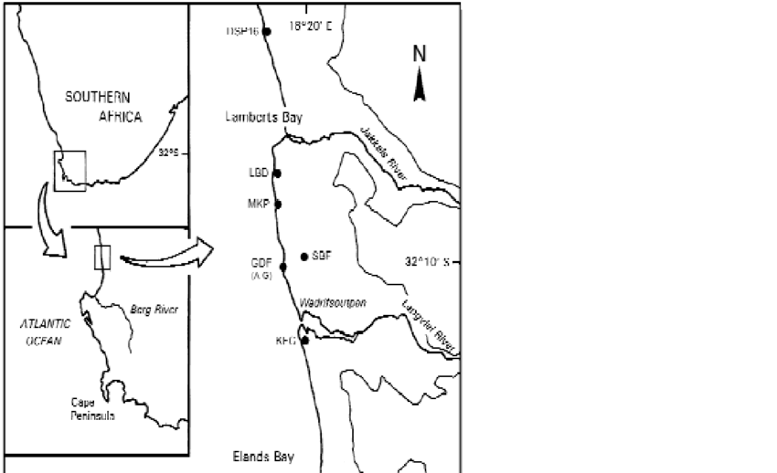 Map of the Elands Bay and Lamberts Bay areas showing