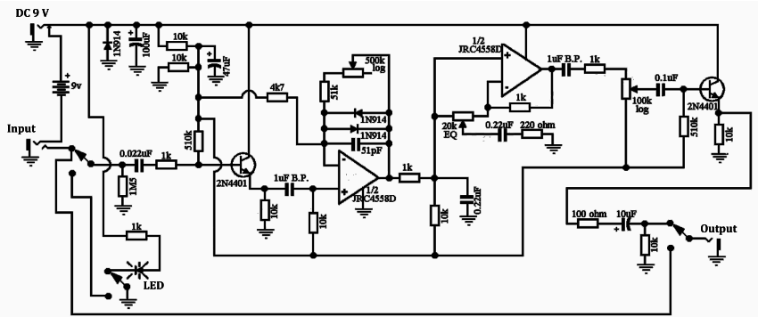 Schema of the modeled nonlinear analog device (overdrive