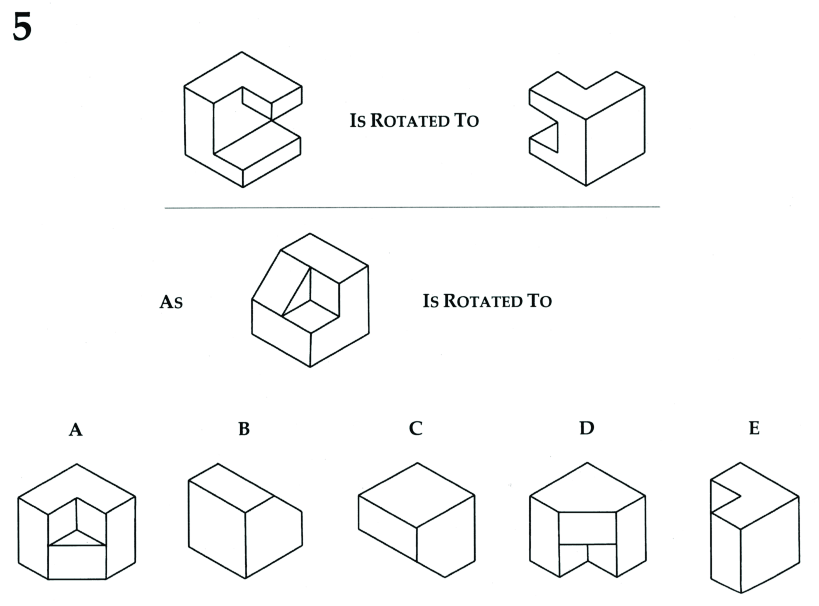 Example question from Purdue Spatial Visualization Test