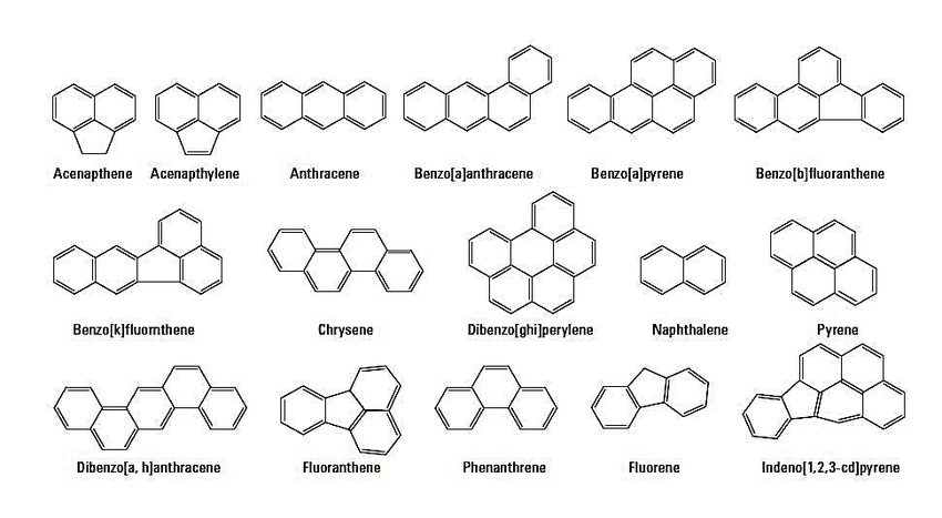 Fig. 1. Studied polycyclic aromatic hydrocarbons (PAHs