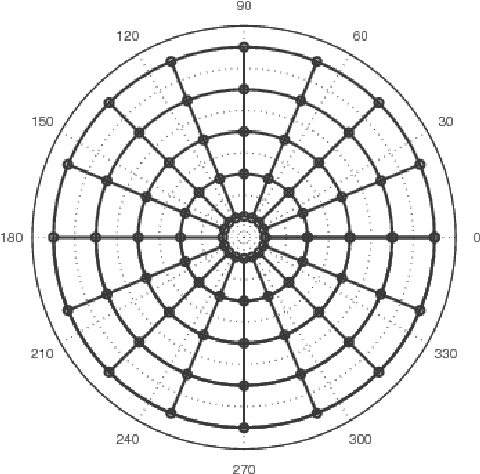 The polar grid. Notice that the innermost points are