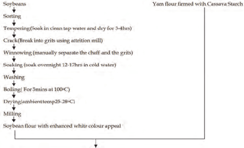 Process Flow Diagram for production of Firmed Yam /Soybean