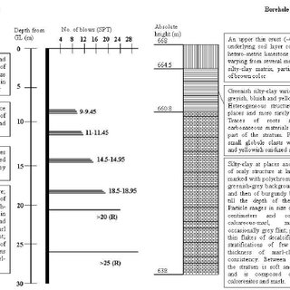 Stratigraphic characteristics and SPT test results for