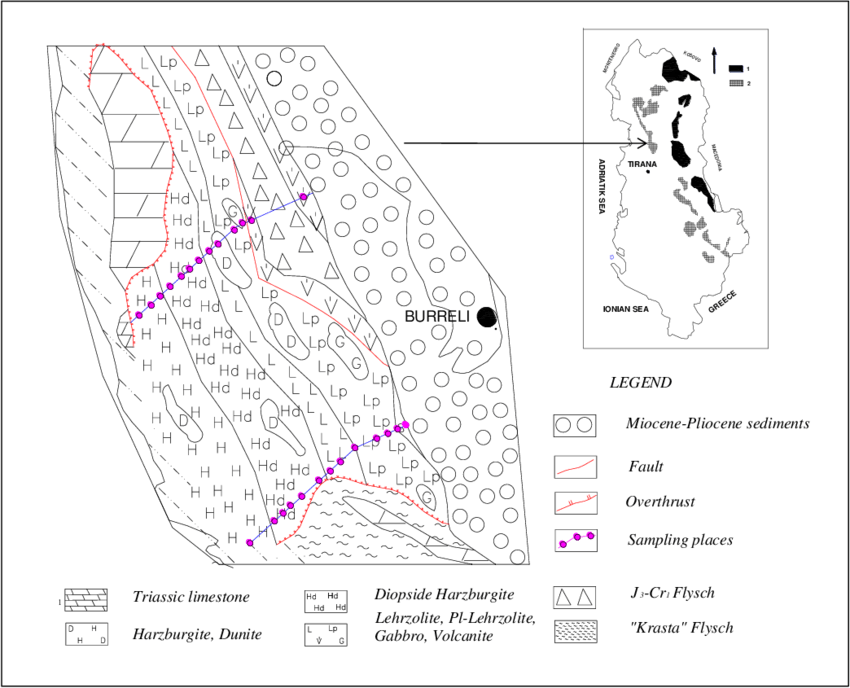 Schematic Geological Map of the ultramafic massif of