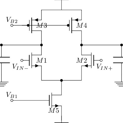 Schematics of a single-stage fully-differential CMOS