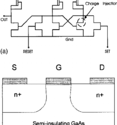 a schematic diagram of the mesfet latch circuit the dashed circle indicates the [ 850 x 1291 Pixel ]
