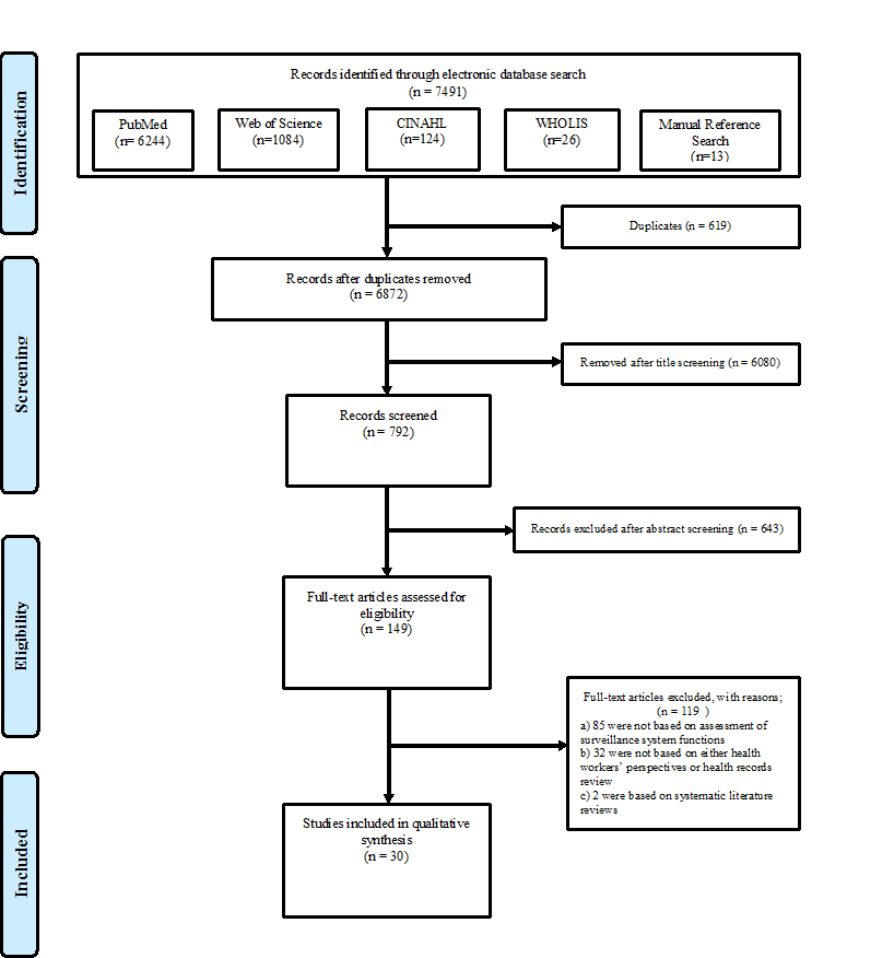 Flow chart summarising the systematic review process