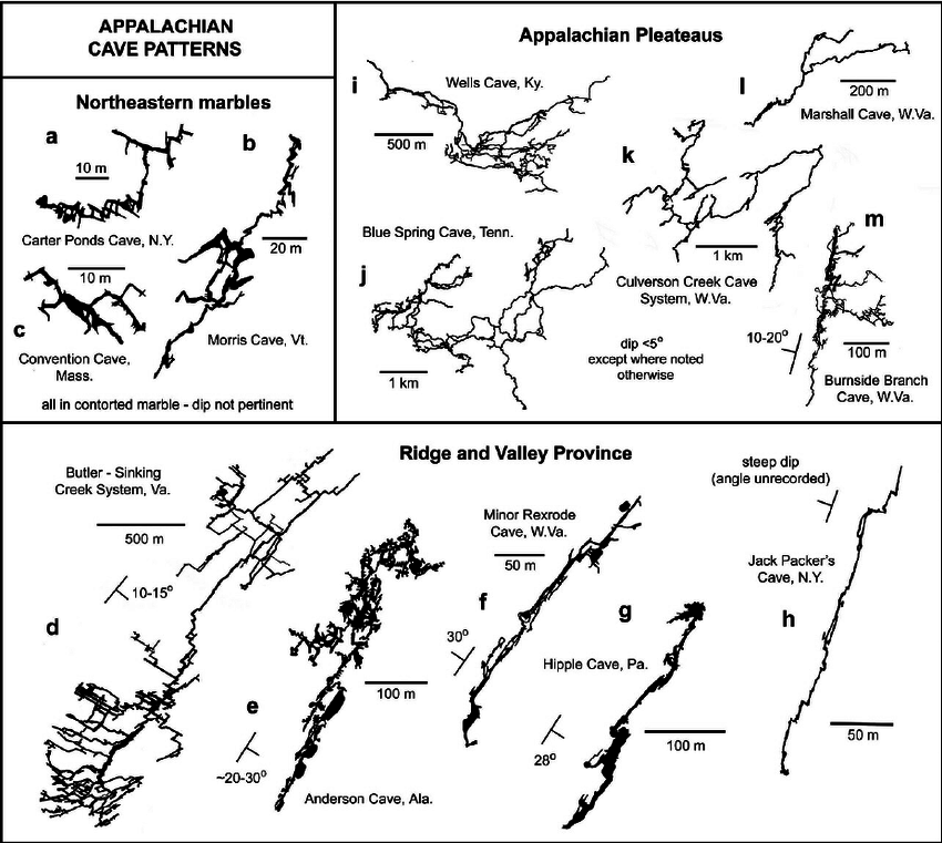 Typical cave patterns in the Appalachians. Maps simplified