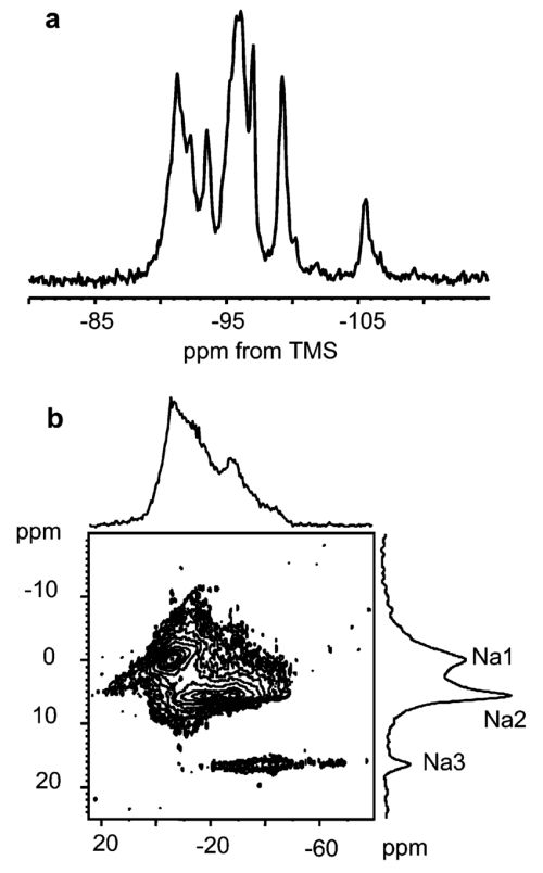 small resolution of am 18 a 29 si mas nmr spectrum b 23 na