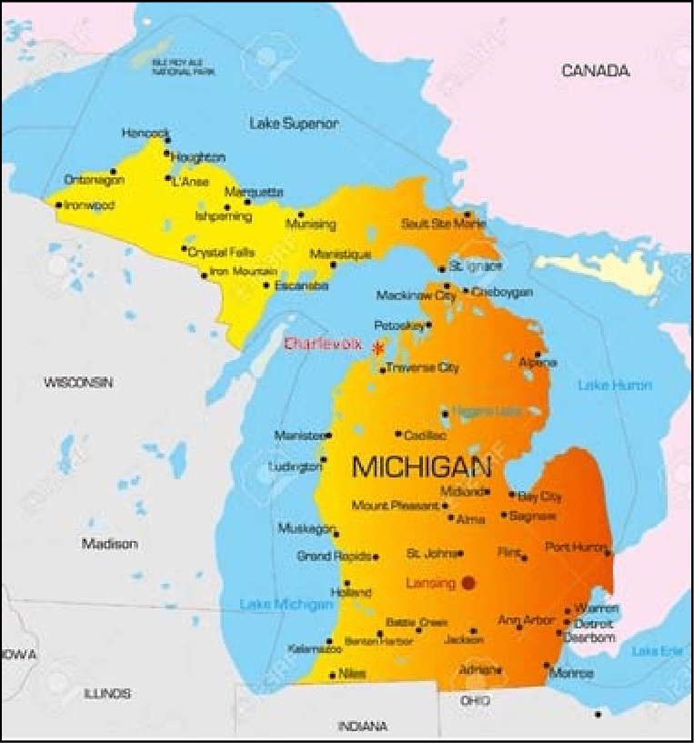 Cities Michigan Towns And Map Upper