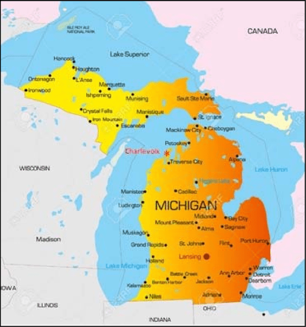 Map of Michigan showing the lower and the upper peninsulas