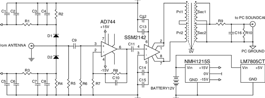 Schematic diagram of proposed amplifier for VLF receiver