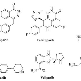 Structures of PARP inhibitors in clinical trials