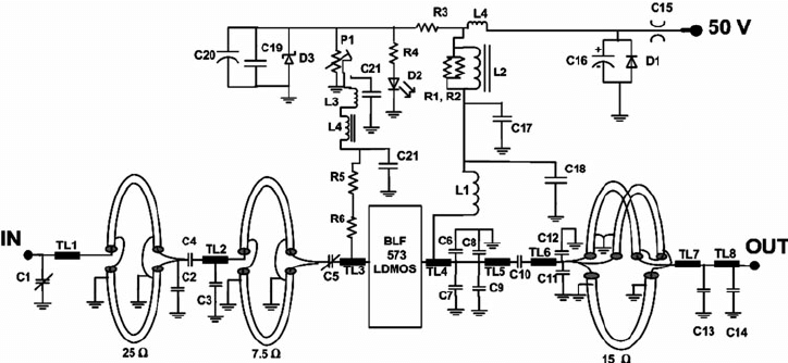 Impedance matching circuit for one half of the 500 W power