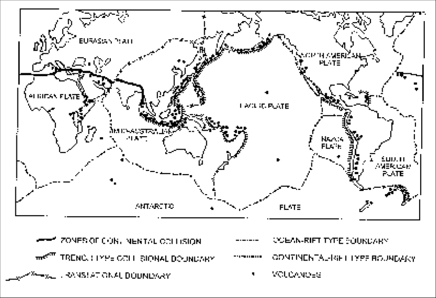 A sketch map of the world showing distribution of plates