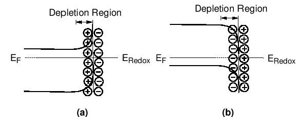 The energy schemes for n-type and p-type semiconductors in