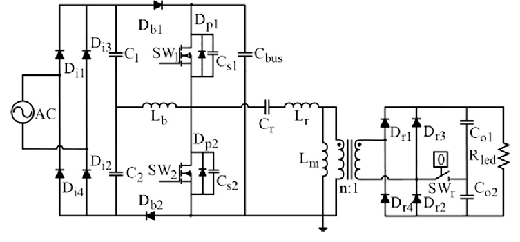Circuit diagram of proposed single-stage AC/DC converter
