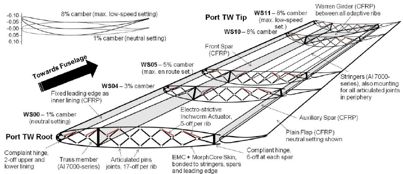 Schematic illustration of the morphing top wing design of