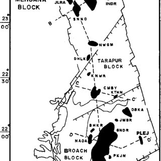 Location map for the Cambay basin, India, showing major