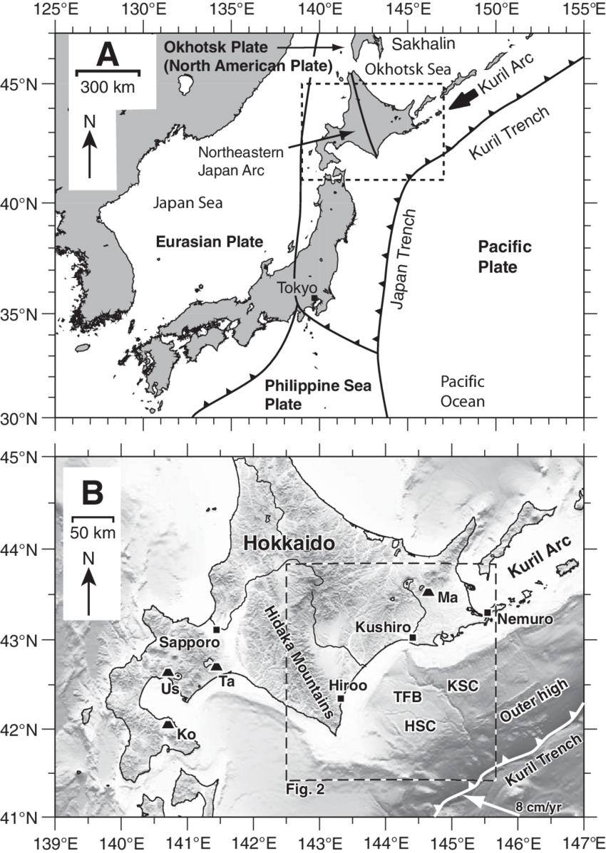 hight resolution of tectonic setting and location of the study area ksc kushiro submarine canyon hsc