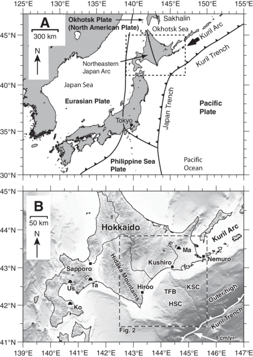 small resolution of tectonic setting and location of the study area ksc kushiro submarine canyon hsc