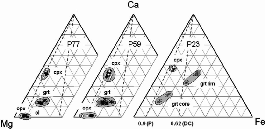 Ca^Mg^Fe ternary diagrams showing the cation content of