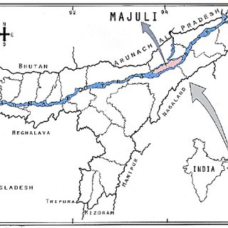 District map of Assam state indicating location of Majuli