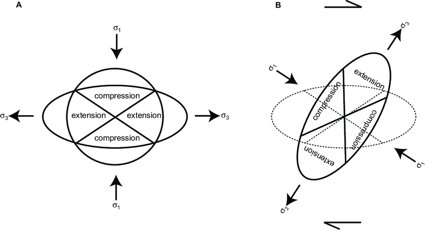 -Strain ellipses showing how a transition from A) pure