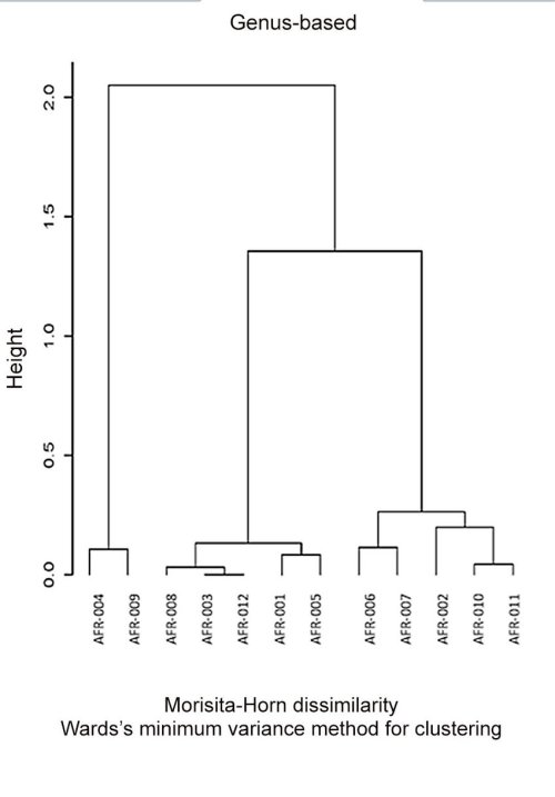 small resolution of dendrogram reflecting the healthy afr001 006 and colon polyps afr007 012