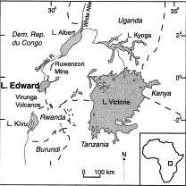 Lake Edward in the western arm of the East African Rift