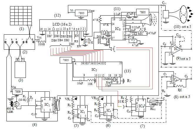 Overall Circuit Diagram of the Solar Powered Ultrasonic