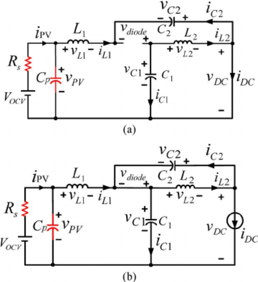 Equivalent circuits of qZSI-PV system when both of PV
