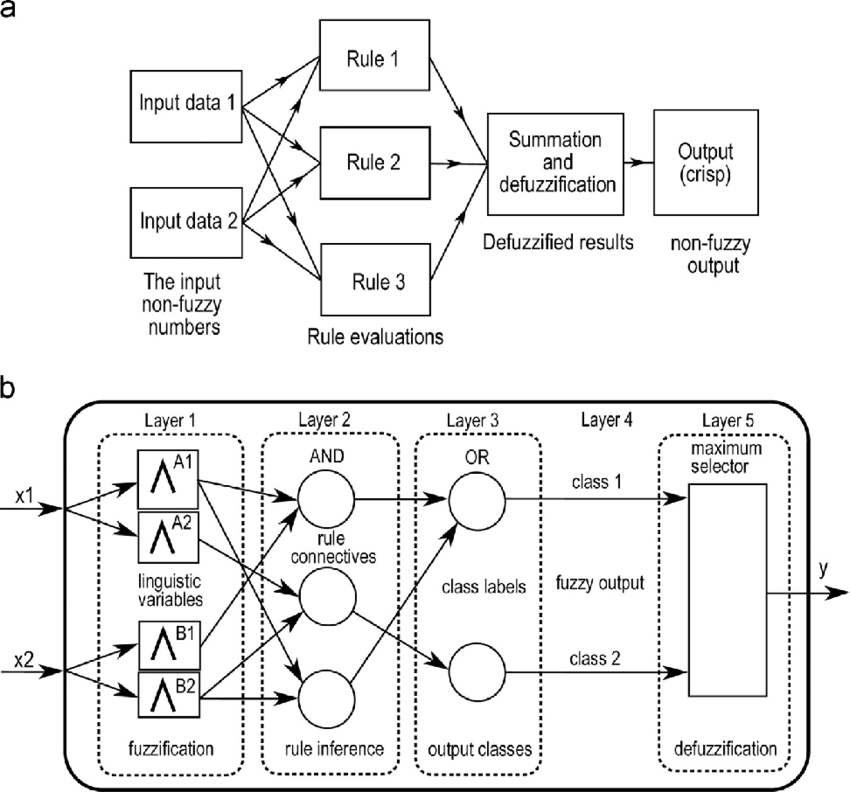 (a) Schematic diagram of fuzzy inference systems, where
