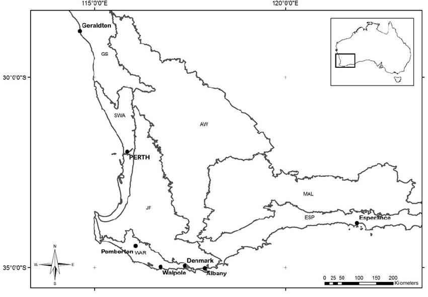 Map of the med-region of southwestern Australia showing
