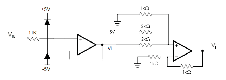 Voltage limiter circuit, voltage follower and non