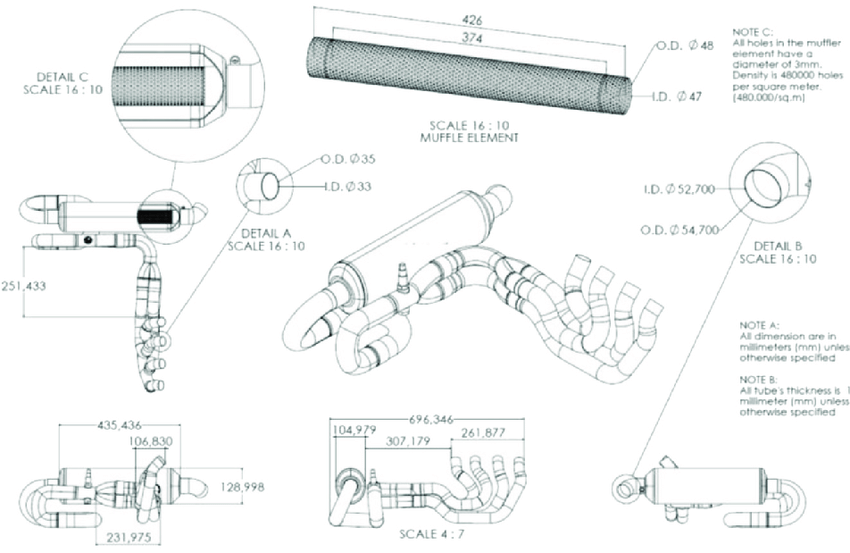 The cross section and the dimensions of FS muffler