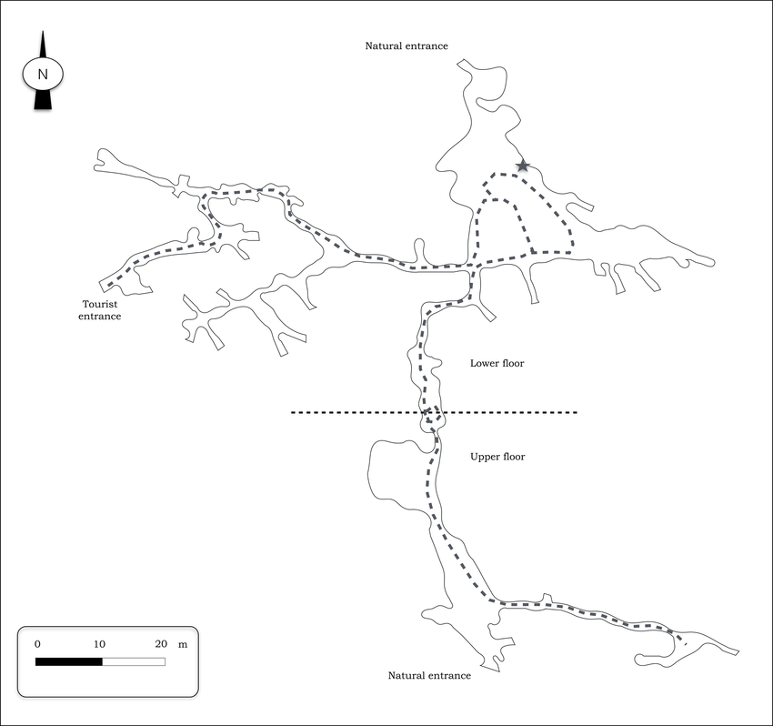 Simplified map of the Agios Georgios Cave (mapped by the