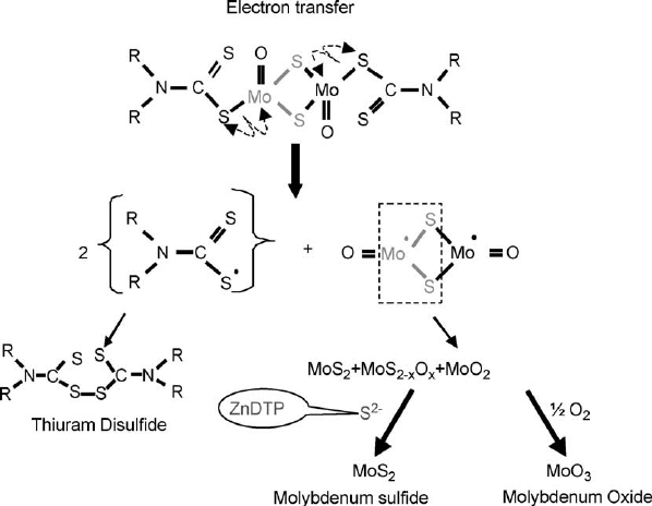 Chemical process of the MoS 2 formation from MoDTC