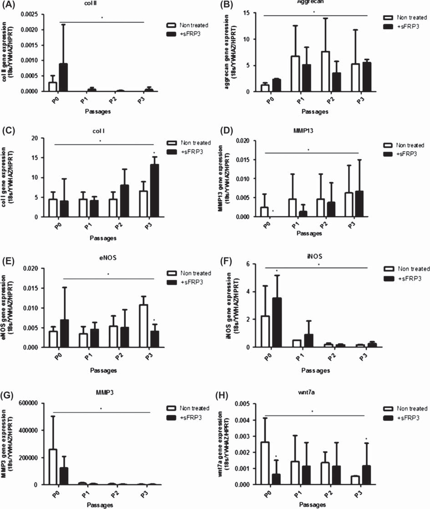 qPCR results of chondrocyte markers and Wnt pathway