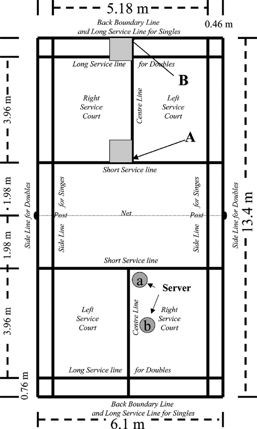 medium resolution of schematic illustration of the badminton court including 1 m 2 box server position