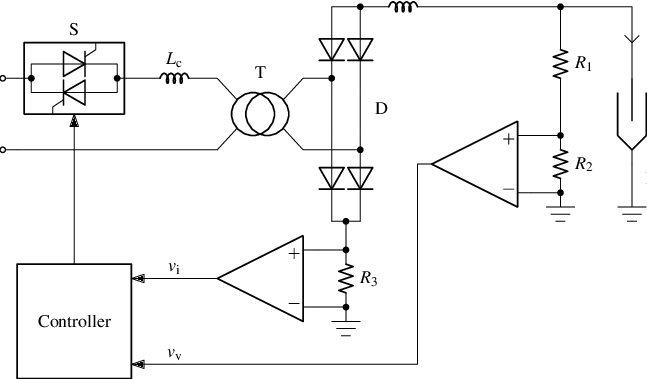 Schematic and block diagram of a single-phase T/R set