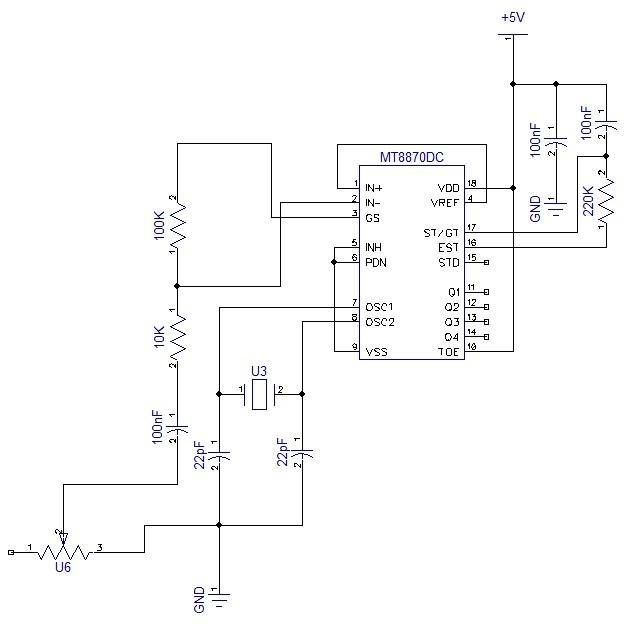 Pin configuration of MT8870 DTMF decoder 2.2.1 DTMF