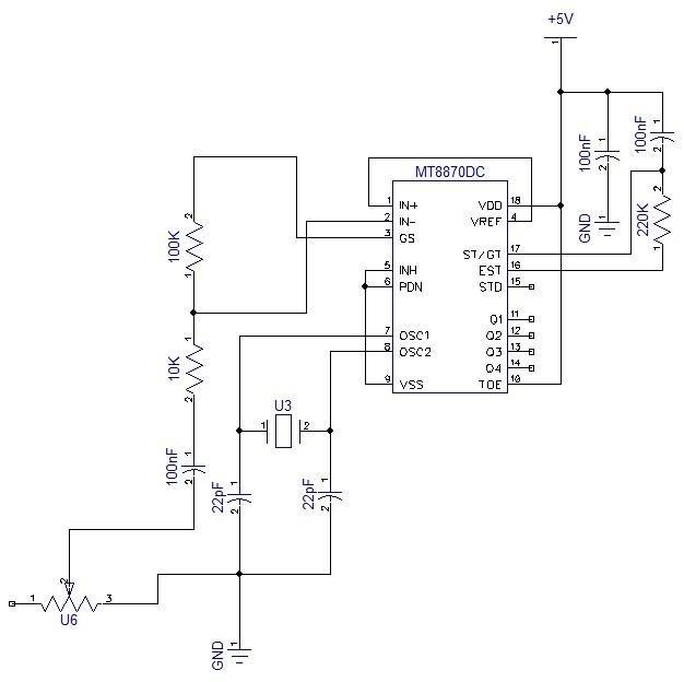 Pin configuration of MT8870 DTMF decoder 2.2.1 DTMF