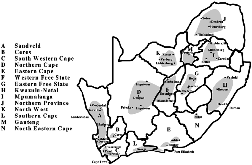 Map of South Africa showing potato production regions
