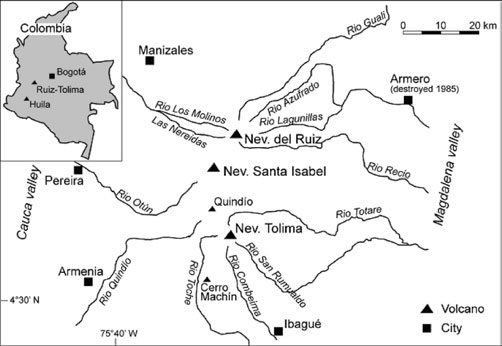 Schematic map of the Ruiz–Tolima volcanic area showing