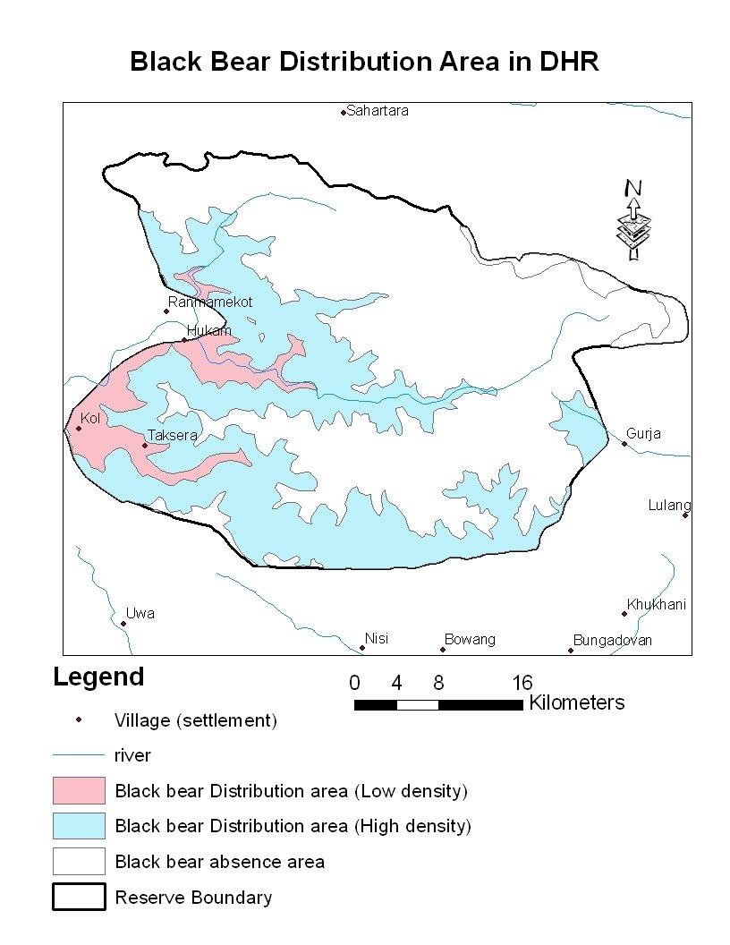 medium resolution of black bear distribution area in dhorpatan hunting reserve