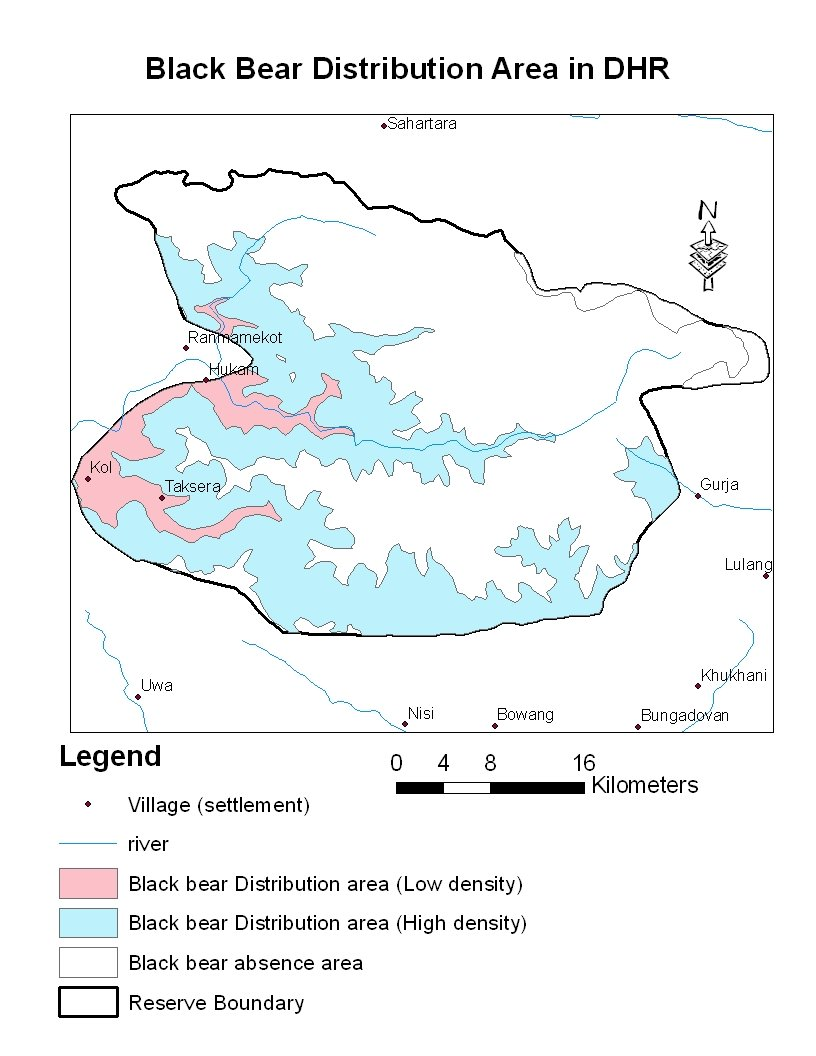 hight resolution of black bear distribution area in dhorpatan hunting reserve