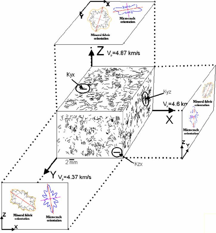 3D block diagram showing microcracks orientations in